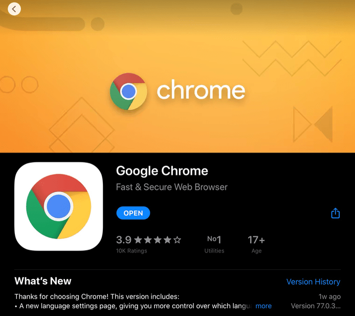 Google Chrome Download for iPadOS