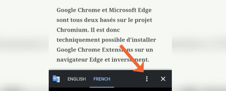 Google Translate Bar in Chrome Android Option Menu