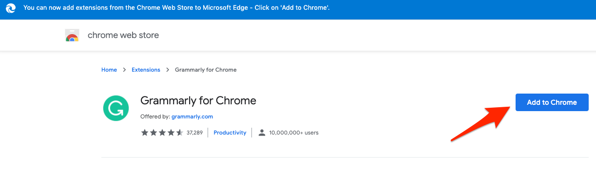 Grammarly for Chrome Extension Add to Chrome
