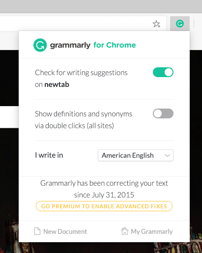 Grammarly for Chrome installed on Microsoft Edge