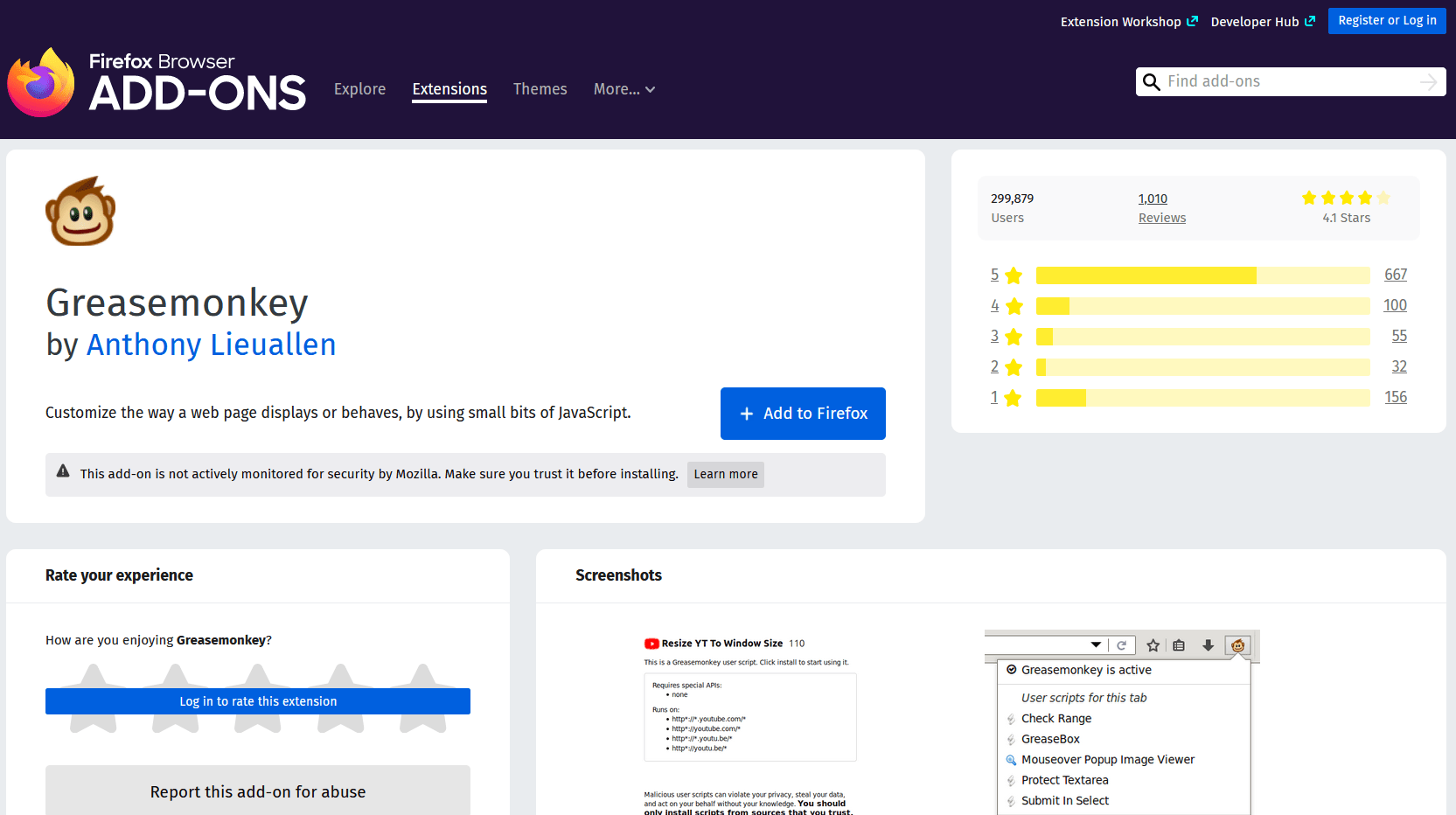 Greasemonkey Mozilla Firefox Add-on extension