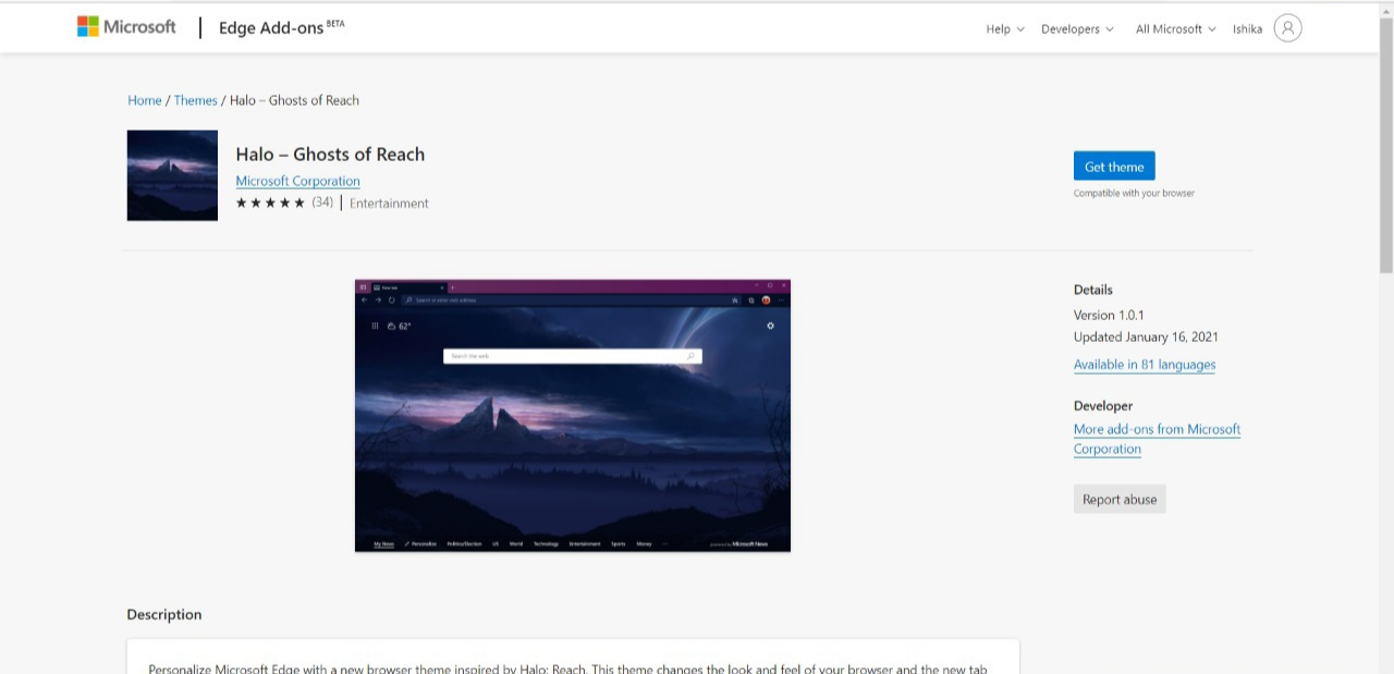 Halo Ghost of Reach Theme on Microsoft Edge