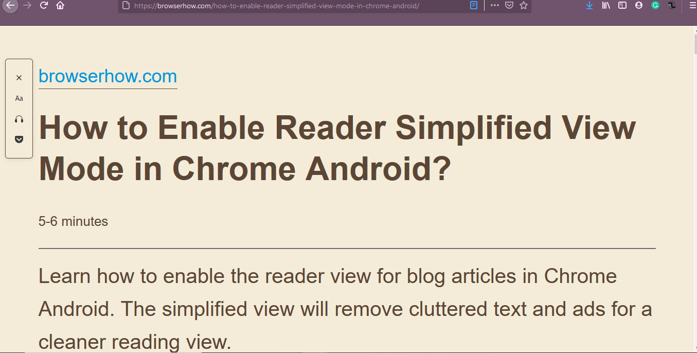 How To Show Simplified Reader View In Firefox Computer