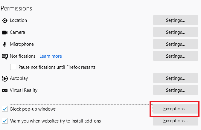 How to allow pop-ups and redirects in Firefox computer