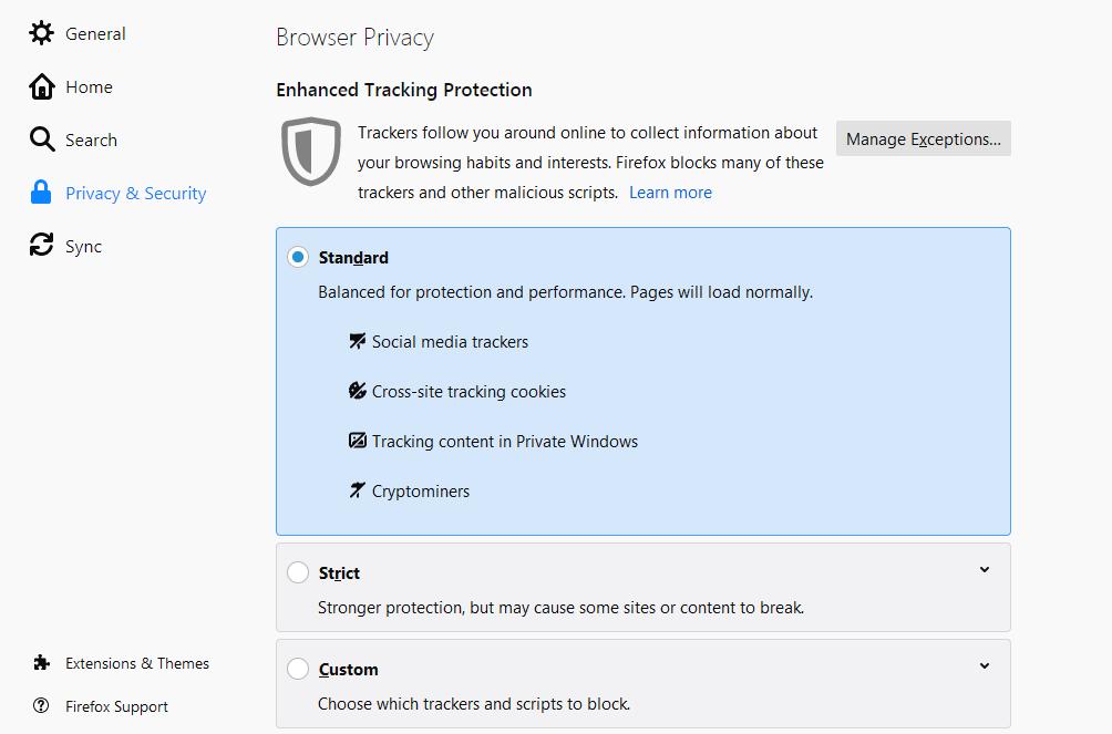 How to block browser cookies in Firefox computer