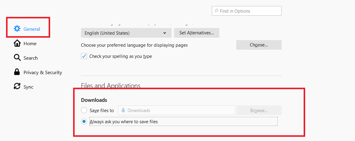 How to change download location Firefox