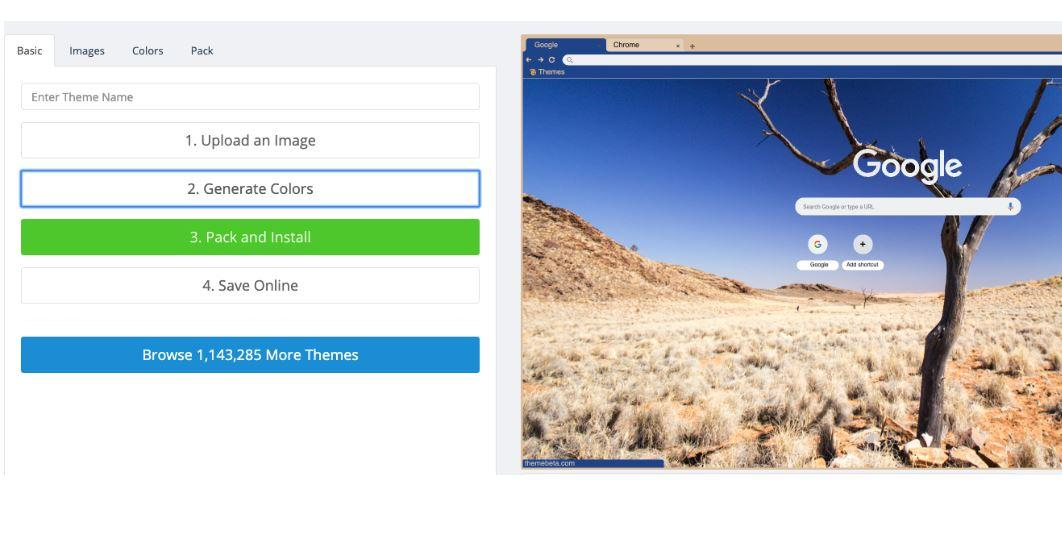 Image uploaded in the Custom Theme Chrome