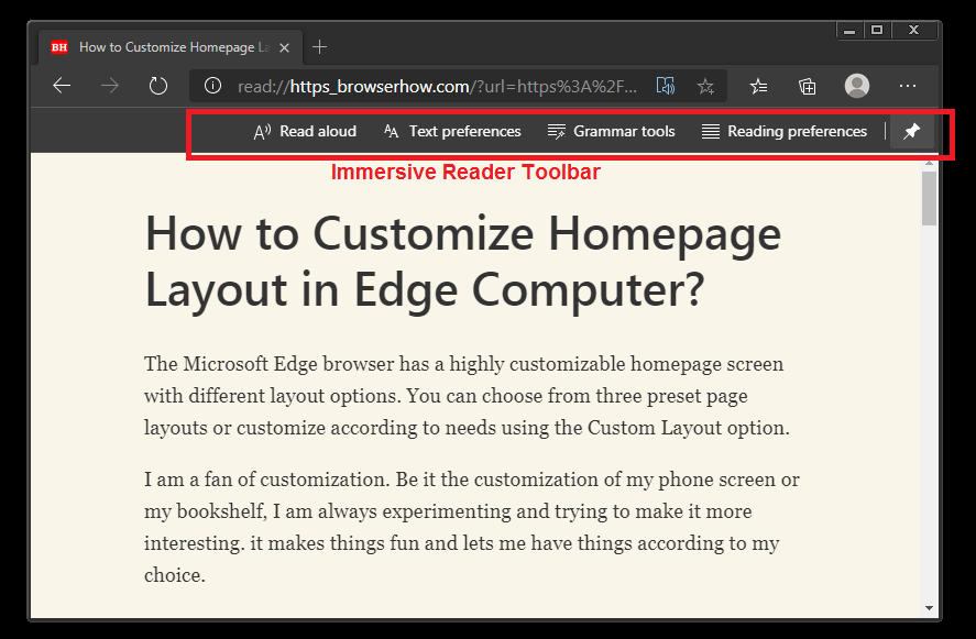 Immersive Reader Toolbar and Options in Microsoft Edge