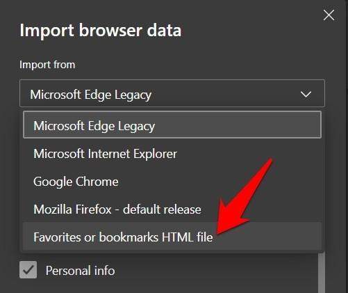 Import Favorite or Bookmark HTML file