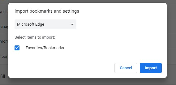 Import bookmarks from Edge into Chrome