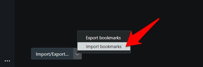Import bookmarks option in Opera