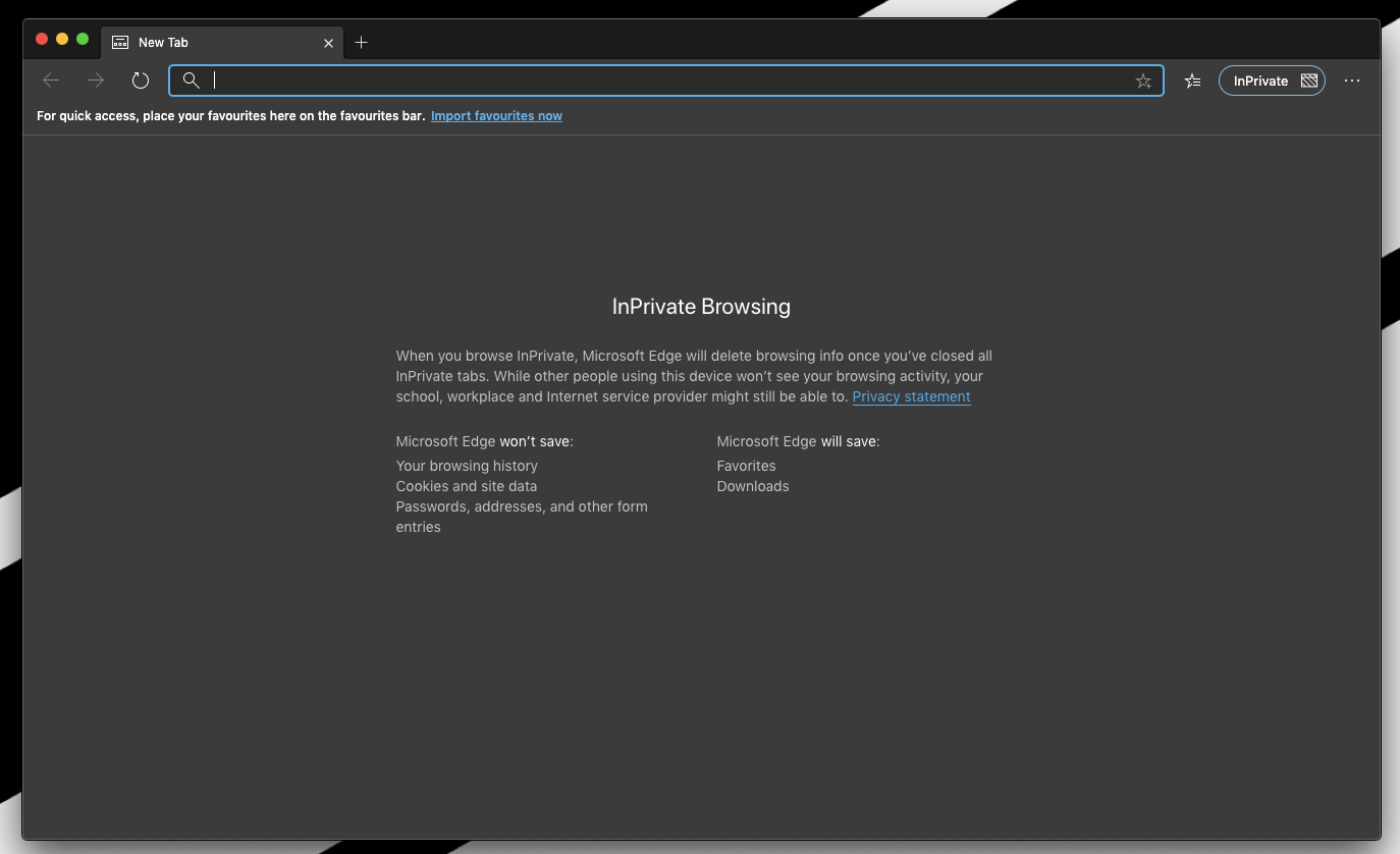 InPrivate Browsing on Edge Computer