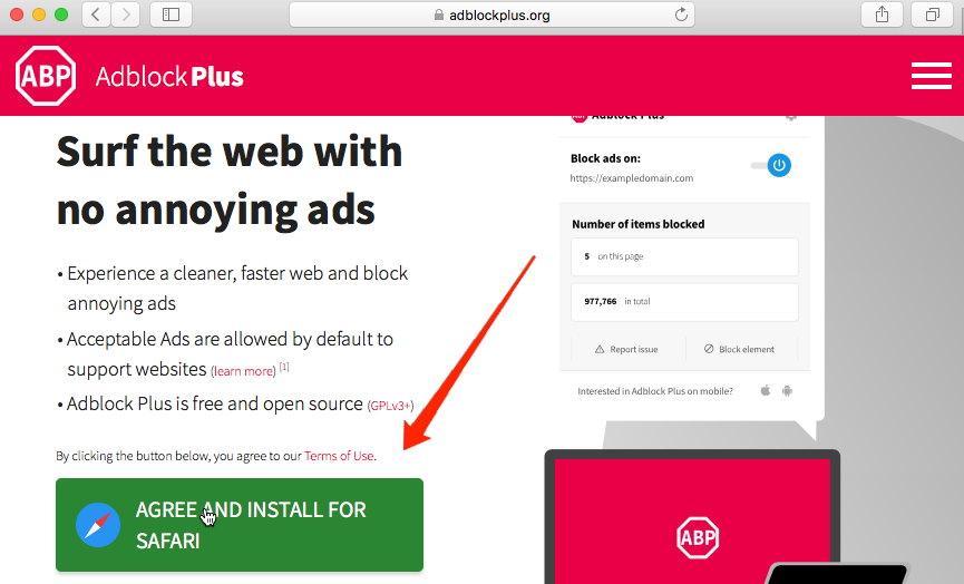 Install AdBlock on Safari browser