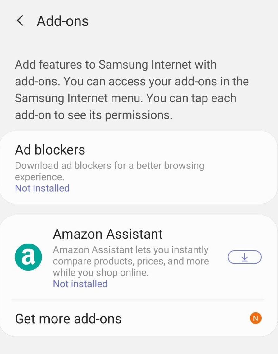 Install and Enable Add-ons in Samsung Internet Mobile Browser