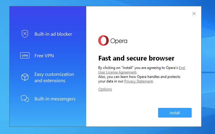 Install Opera Browser on Windows
