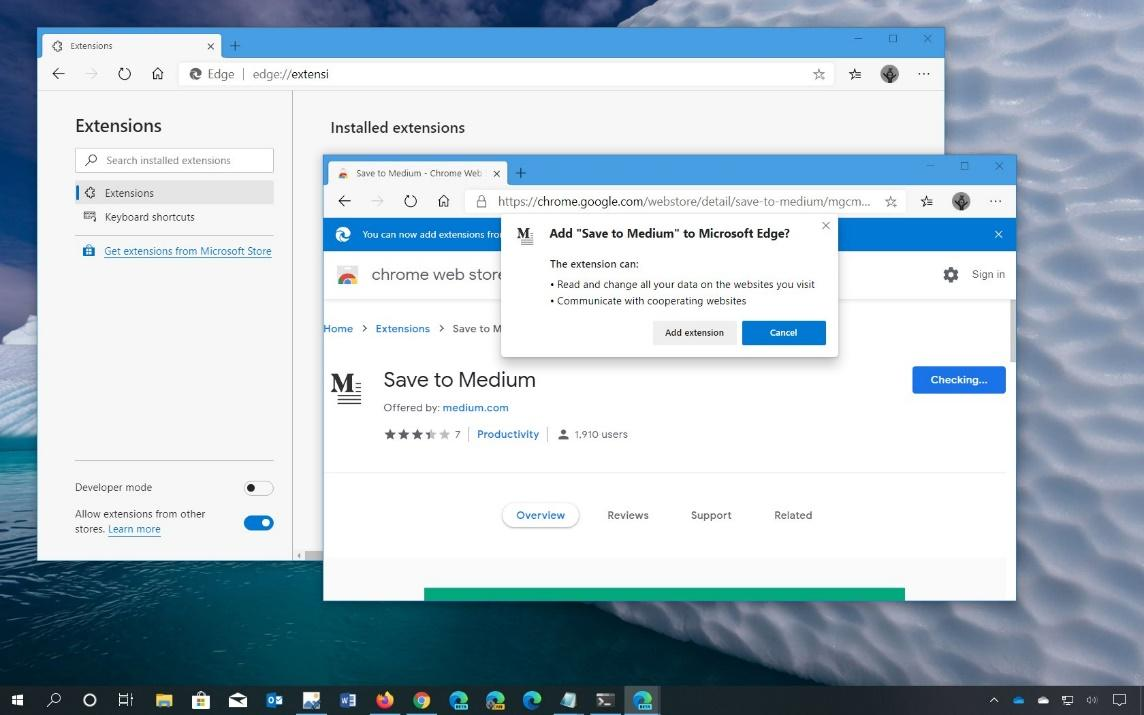 Installing Chrome Web Store Extension in Microsoft Edge