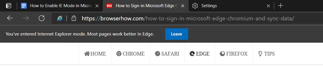 Internet Explorer Mode on Microsoft Edge browser