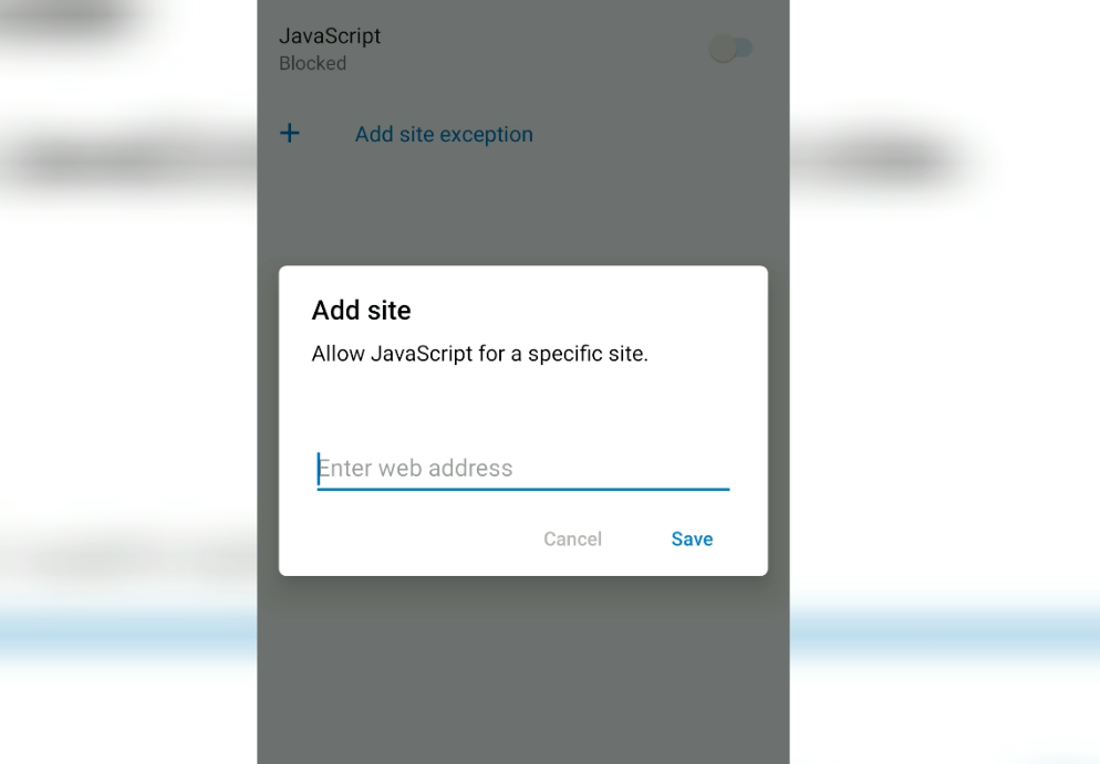 JavaScript Block exception in Edge Android