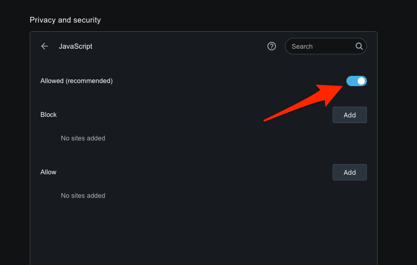 JavaScript Enable and Allowed in Opera