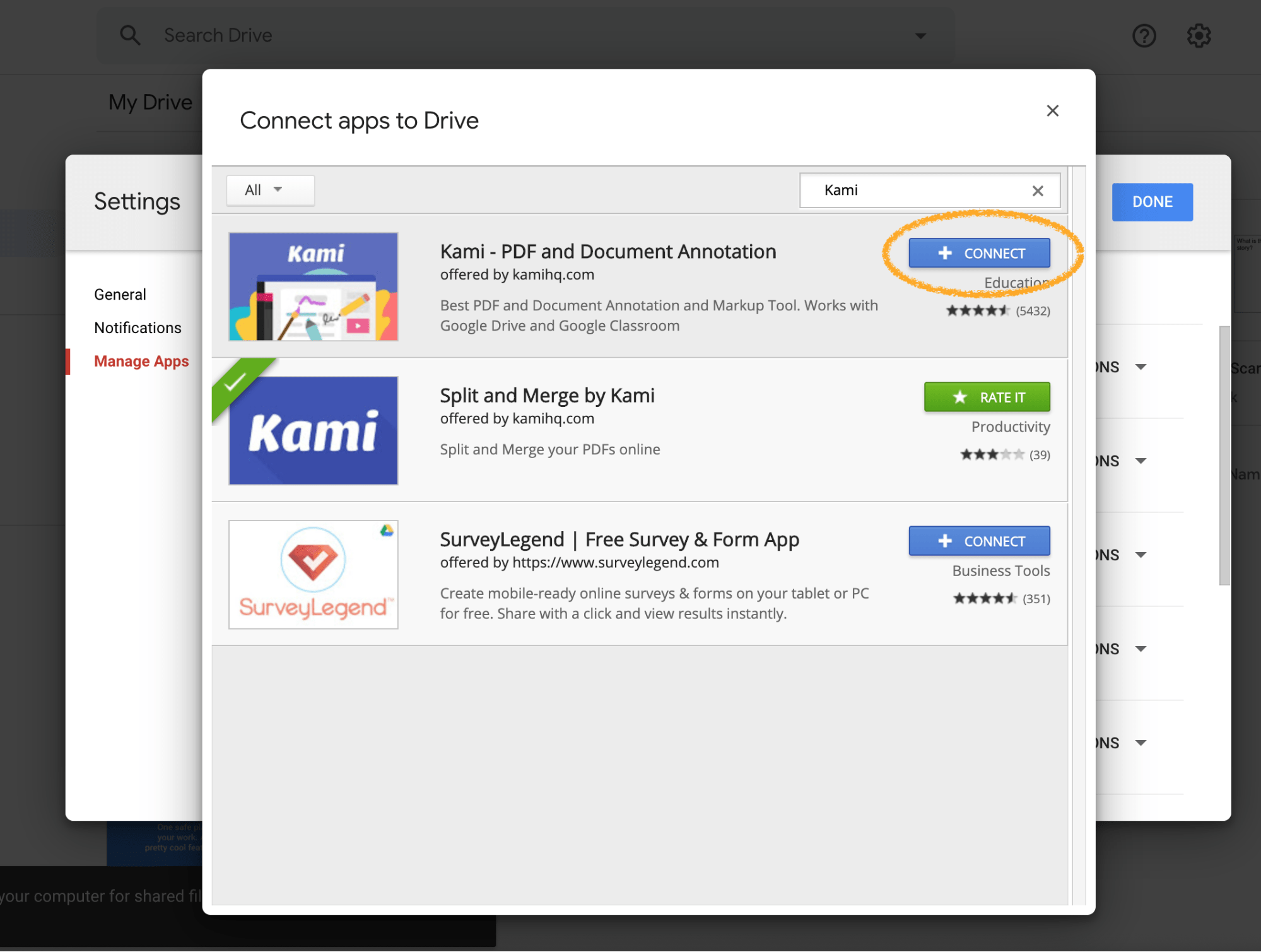 Kami PDF Document Annotation Connect apps to Drive