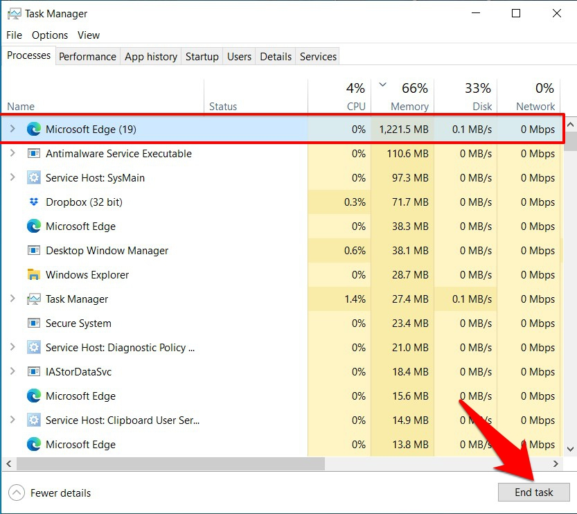 Kill Microsoft Edge browser from Task Manager