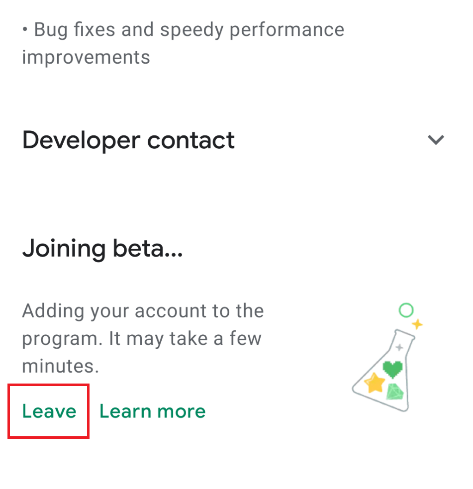 Leave BETA program from Google PayStore