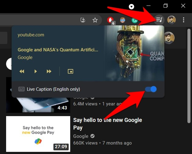 Live Caption Toggle button under Toolbar