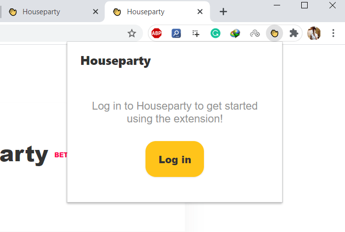Login Houseparty extension