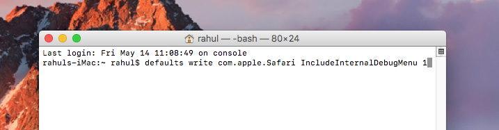 MacOS terminal to enable Debug menu on Safari browser
