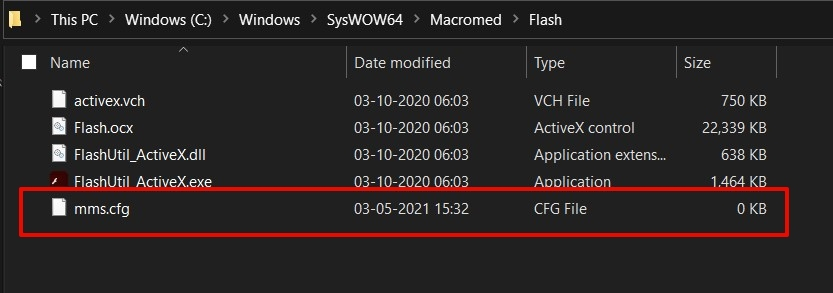 Macromeda Flash mms.cfg file in windows