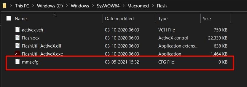 Macromeda Flash mms.cfg file in windows