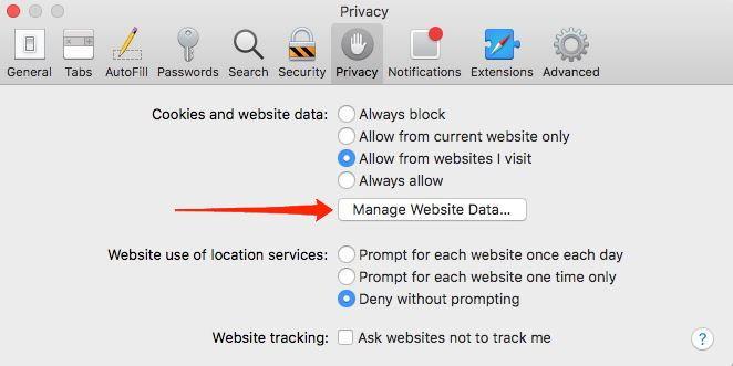 Manage Website Data option in Safari browser