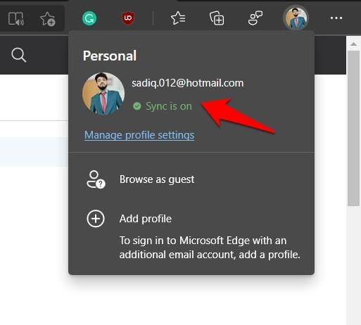 Microsoft Edge Chromium Computer Sync is on