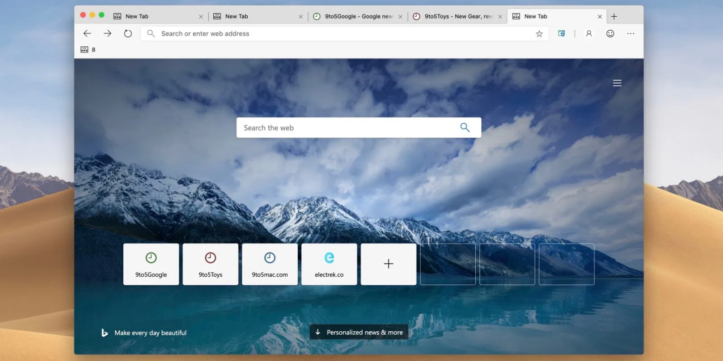 Microsoft Edge Chromium on Mac with homepage