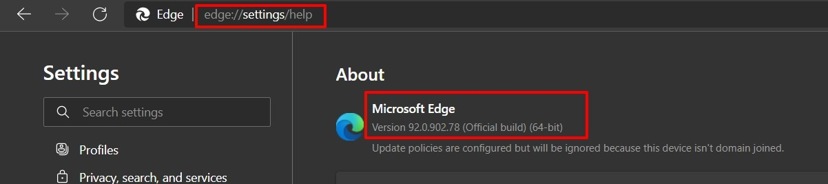 Microsoft Edge Current Build and Version number