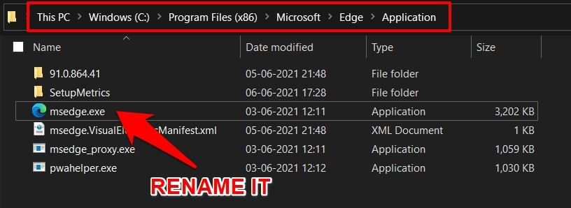 Microsoft Edge application in Windows