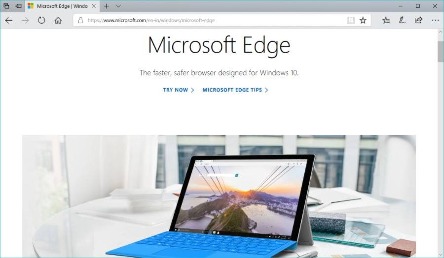 Microsoft Edge for Windows with welcome page