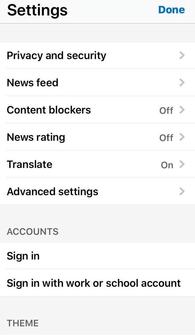 Microsoft Edge iOS Advanced Settings and Options