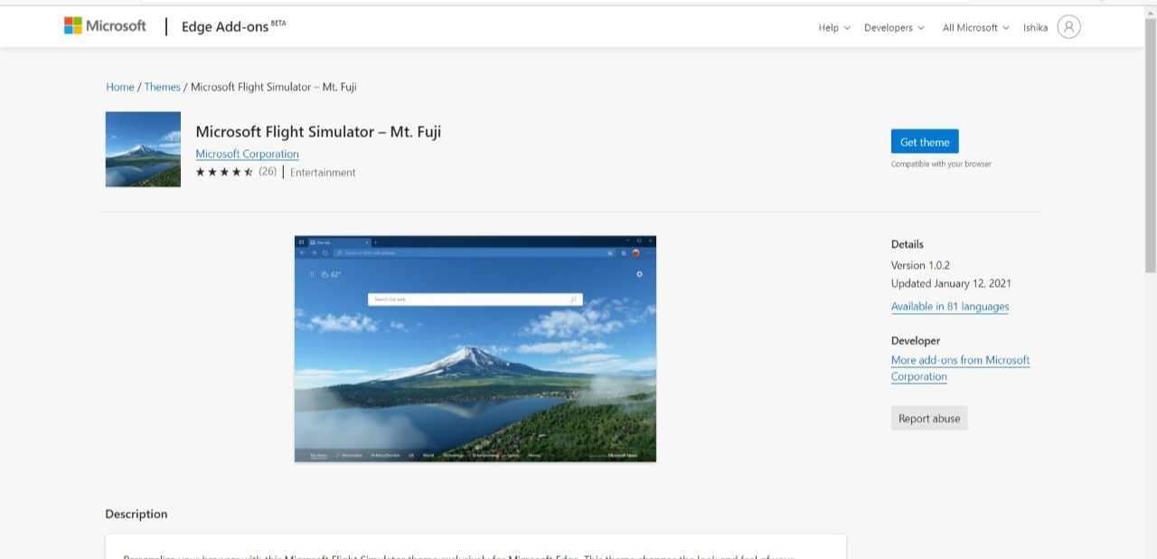 Microsoft Flight Stimulator Mt Fuji Theme for Edge