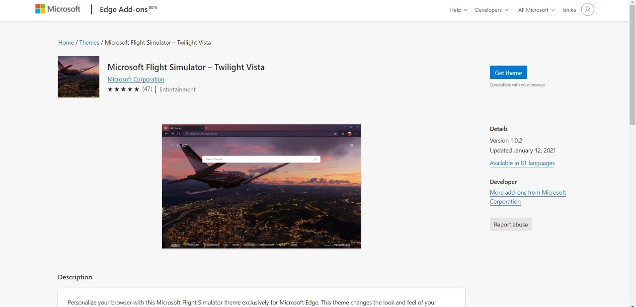 Microsoft Flight Stimulator Twilight Vista Edge Add-on Theme