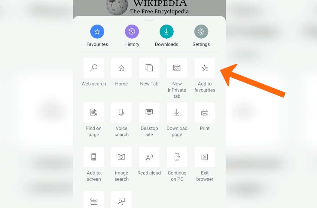 Microsoft Edge Android Add to favourites