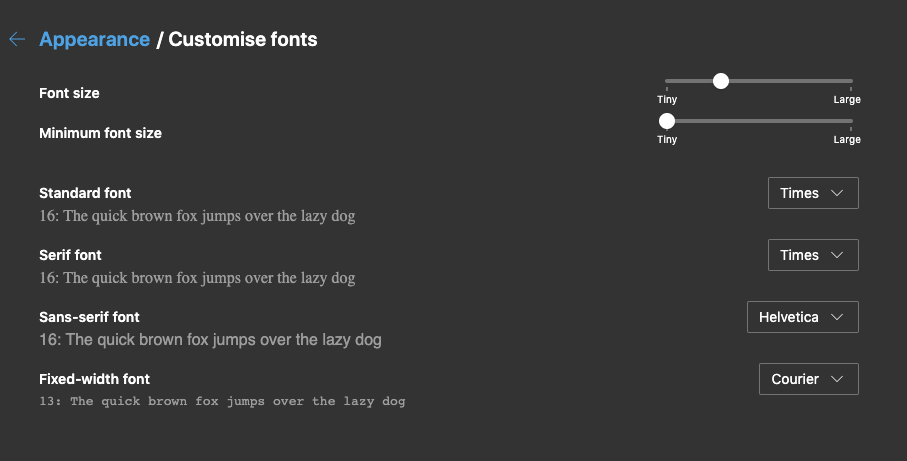 Microsoft Edge Customize Fonts and Color in Computer