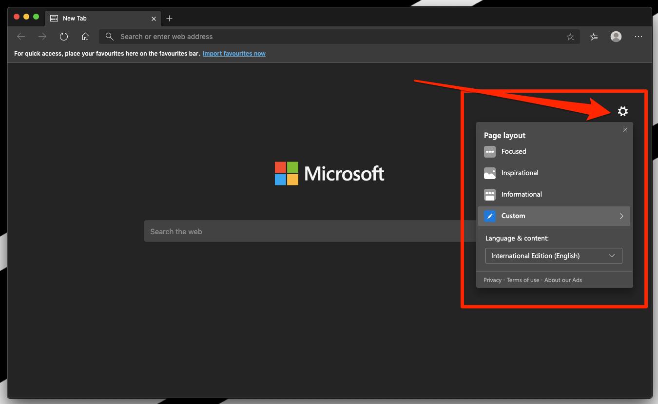 Microsoft Edge Homepage Layout Customization