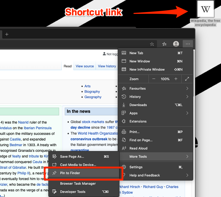 Microsoft Edge Pin to Finder Shortcut link on Mac Computer
