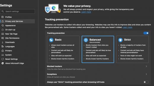 Microsoft Edge Privacy Settings for Windows
