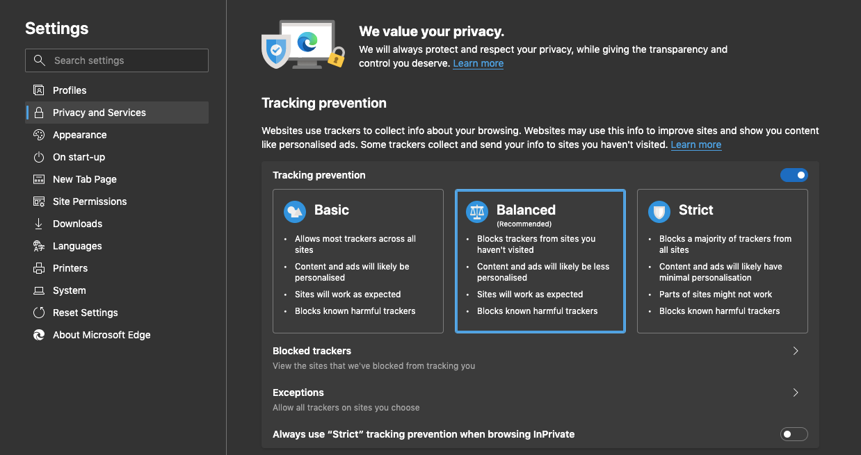 Microsoft Edge Privacy Settings for Windows