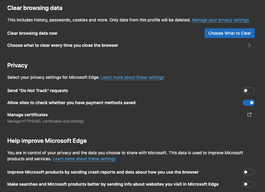 Microsoft Edge Privacy and Data Tracking Settings