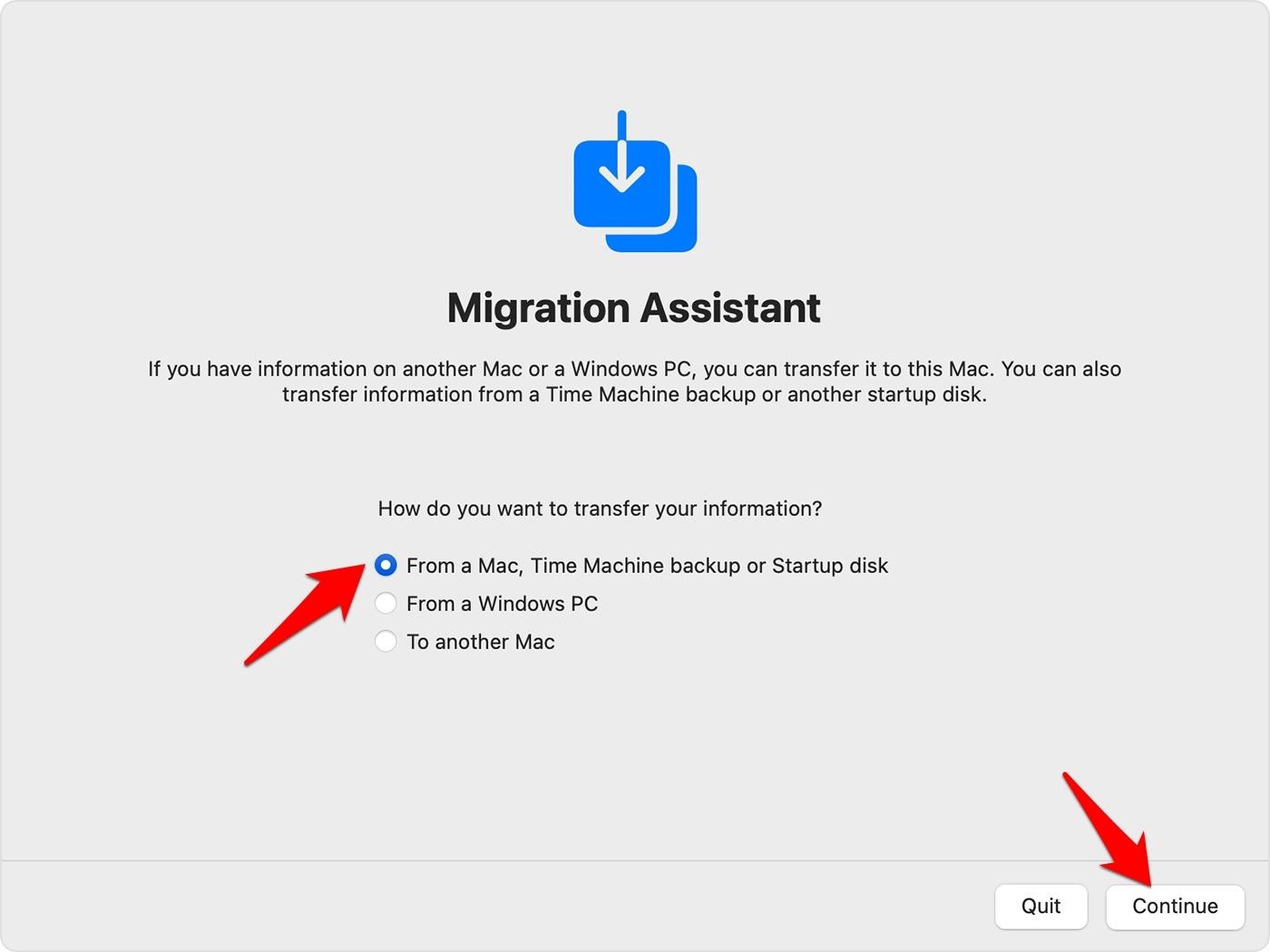 Migration Assistant app in MacOS