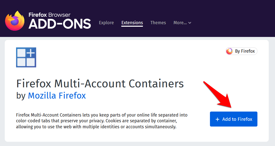Mozilla Firefox Containers Add-on Add to Browser