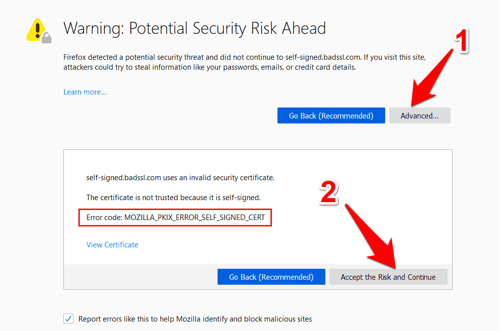 Mozilla Firefox Proceed with Unsecured Site with SSL